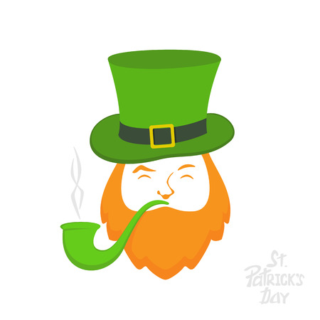 irish culture: Patrick day icon on white background, leprechaun with green hat and smoking pipe, lettering St. Patricks Day, illustration.