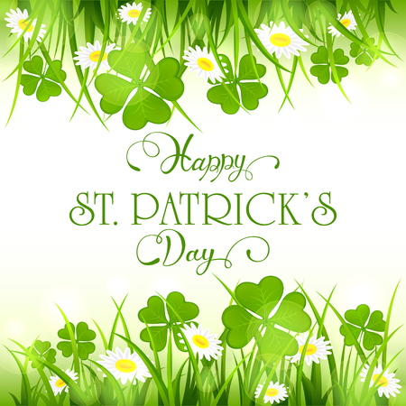 fortune flower: Patricks Day background with green clover and flower in grass, holiday lettering Happy St. Patricks Day, illustration. Illustration