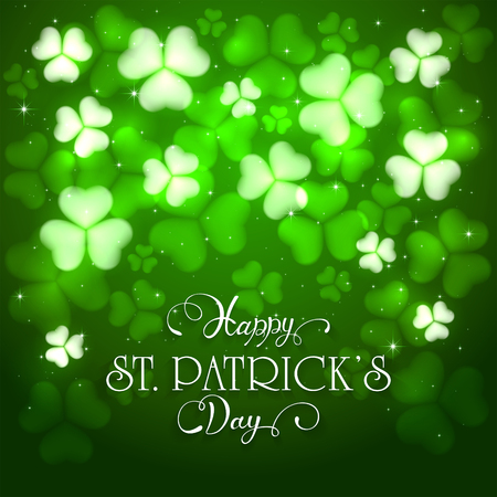 patrick's: Green background of St. Patricks Day with glittering clovers and stars, holiday lettering Happy St. Patricks Day, illustration.