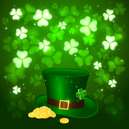 Green background of St. Patricks Day with glittering clovers and golden coins with hat of the leprechaun, illustration.