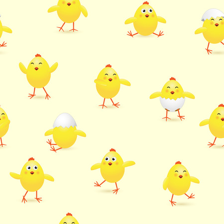 Seamless Easter background with funny yellow chicks, holiday pattern, illustration.