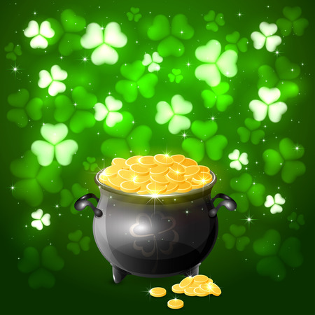 Green background of St. Patricks Day with glittering clovers and gold leprechaun, illustration.