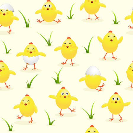 pascuas navideÑas: Seamless Easter background with funny yellow chicks and grass, holiday pattern, illustration. Vectores