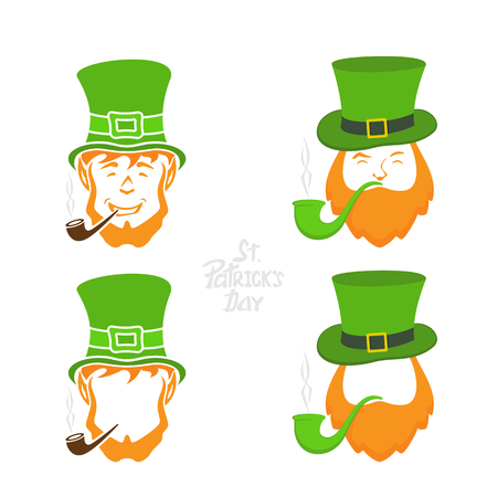Patrick day icons on white background, leprechauns with green hat and smoking pipe, lettering St. Patricks Day, illustration.