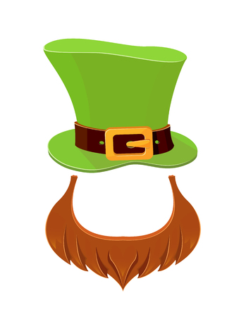 Patrick day icons on white background, leprechauns green hat and beard, illustration.