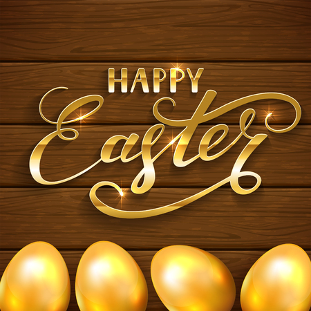 brown egg: Golden Easter eggs on a wooden background, holiday lettering Happy Easter, illustration. Illustration