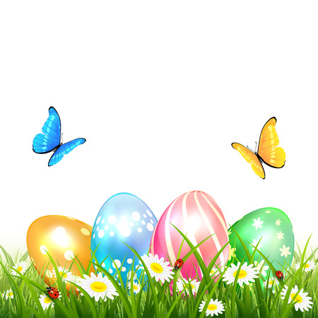 Abstract nature background with colored Easter eggs in grass, butterflies flying over flowers, illustration.