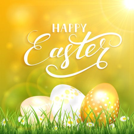 Easter background with Sun and golden eggs in the grass, illustration.