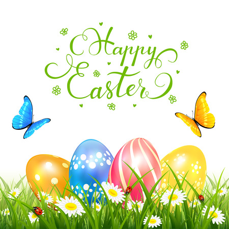 Abstract nature background with colored Easter eggs in grass and butterflies flying over flowers, holiday lettering Happy Easter,  illustration.