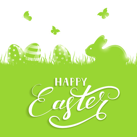 Green background with little rabbit and Easter eggs in a grass, holiday lettering Happy Easter, illustration. Illustration