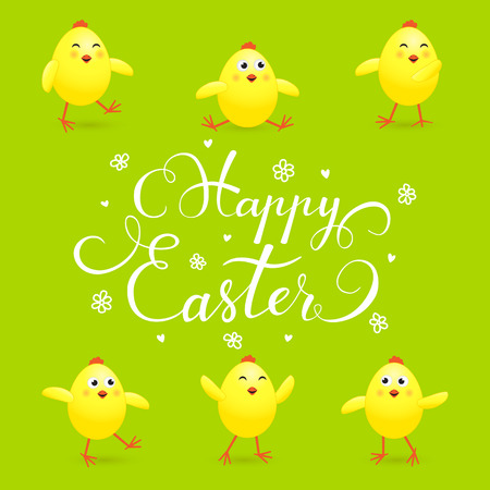 Easter background with funny yellow chicks on green background, holiday lettering Happy Easter, illustration.