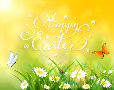 abstract flowers: Easter theme with a butterfly flying above the grass and flowers, yellow nature background with sun beams and lettering Happy Easter, illustration.