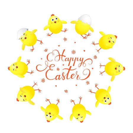 pollitos: Círculo de polluelos amarillos divertidos y letras del día de fiesta Pascua feliz en el fondo blanco, ilustración. Vectores