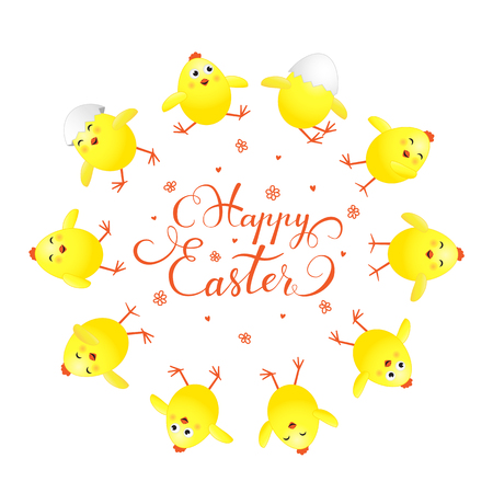 Circle of funny yellow chicks and holiday lettering Happy Easter on white background, illustration.