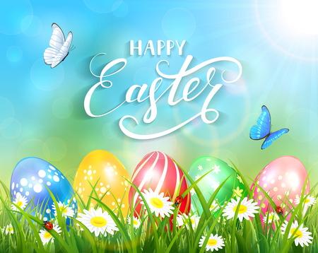 Easter theme with a butterfly flying above the colorful eggs on grass and flowers, nature background with sun beams and lettering Happy Easter, illustration.