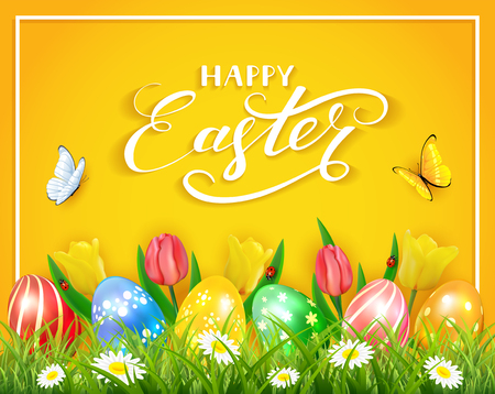 Easter eggs in grass on yellow background with tulips, butterflies and ladybugs, lettering Happy Easter, illustration. Stock Illustratie