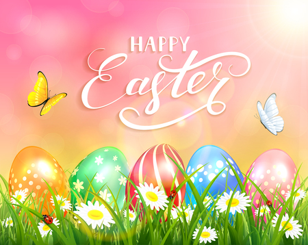 sun flowers: Easter theme with a butterfly flying above the colorful eggs on grass and flowers, pink nature background with sun beams and lettering Happy Easter, illustration.