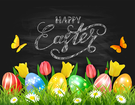 Easter eggs in grass on black chalkboard background with tulips, butterflies and ladybugs, lettering Happy Easter, illustration. Illustration