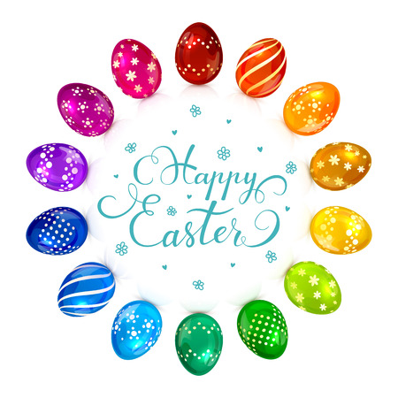 pascuas navideÑas: Circle of brightly colored Easter eggs with decorative patterns and holiday lettering Happy Easter on white background, illustration.