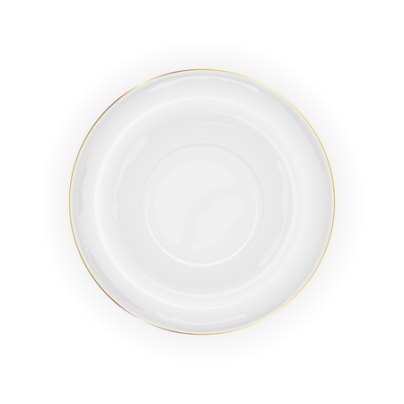 view: White plate isolated on white background, illustration. Illustration