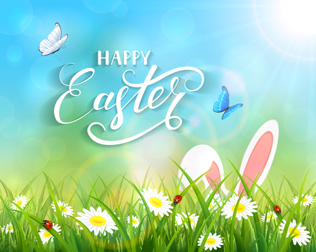 sun flowers: Ears of an Easter bunny and butterflies flying above the grass and flowers, blue nature background with sun beams and lettering Happy Easter, illustration. Illustration