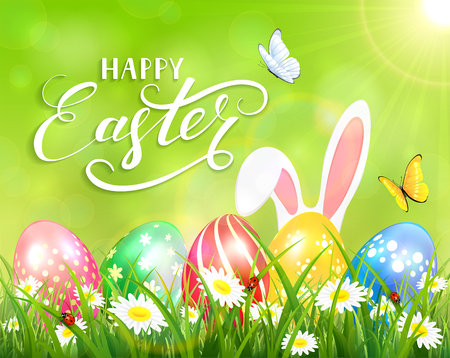 Easter theme with ears of bunny and butterflies flying above the colorful eggs in grass and flowers, green nature background with sun beams and lettering Happy Easter, illustration.