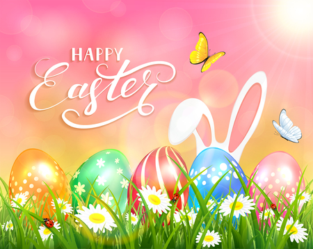 ladybird: Easter theme with ears of bunny and butterflies flying above the colorful eggs in grass and flowers, pink nature background with sun beams and lettering Happy Easter, illustration.