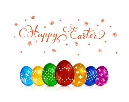 Set of multicolored Easter eggs with decorative patterns isolated on white background, red lettering Happy Easter with hearts and flowers, illustration.