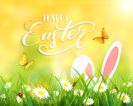 sun flowers: Ears of an Easter bunny and butterflies flying above the grass and flowers, yellow nature background with sun beams and lettering Happy Easter, illustration.