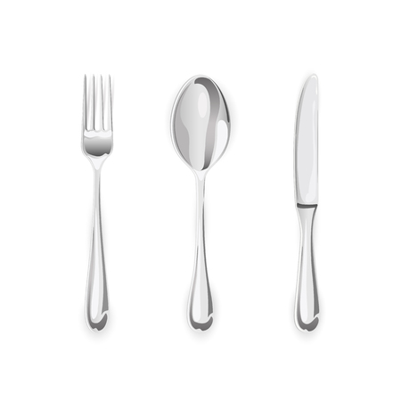 isolated on white: Metal fork with spoon and knife isolated on white background, illustration.
