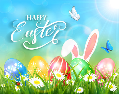 sun flowers: Easter theme with ears of bunny and butterflies flying above the colorful eggs in grass and flowers, nature background with sun beams and lettering Happy Easter, illustration.