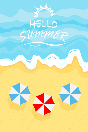 Ocean wave on a sandy beach with umbrellas and lettering Summer time, illustration. Illustration