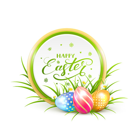 Round Easter banner with multicolored eggs in a grass and lettering Happy Easter, illustration. Illustration