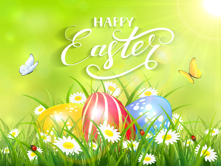 Easter theme with a flying butterflies and three colorful eggs on grass and flowers, green nature background with sun beams and lettering Happy Easter, illustration.