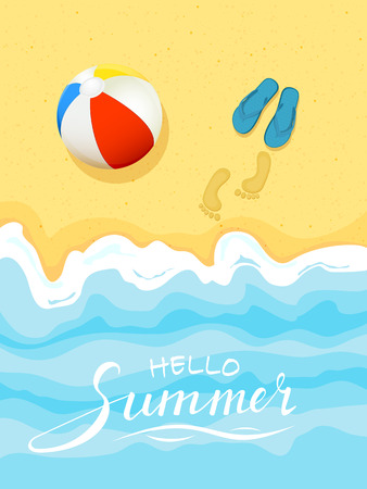 Ocean wave on a sandy beach with flip flops and colorful ball, lettering Hello Summer, illustration.