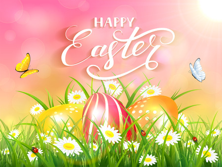 springtime background: Easter theme with a flying butterflies and three colorful eggs on grass and flowers, pink nature background with sun beams and lettering Happy Easter, illustration.