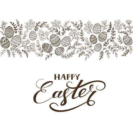 black borders: Black floral elements with eggs and lettering Happy Easter on white background, illustration.