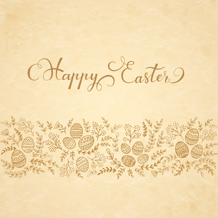 brown egg: Decorative eggs with floral elements and lettering Happy Easter on beige background, illustration.
