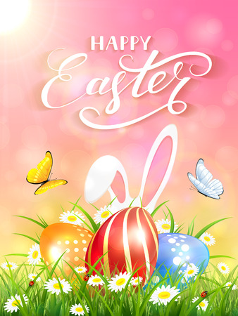 Easter theme with ears of bunny and butterflies flying above the colorful eggs in grass and flowers. Pink nature background with white rabbit and three Easter eggs under sun beams and lettering Happy Easter, illustration.