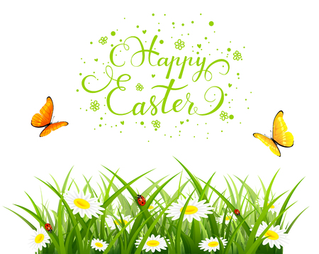 butterfly background: Easter theme with a flying butterflies over grass and flowers. Nature background with lettering Happy Easter, illustration.