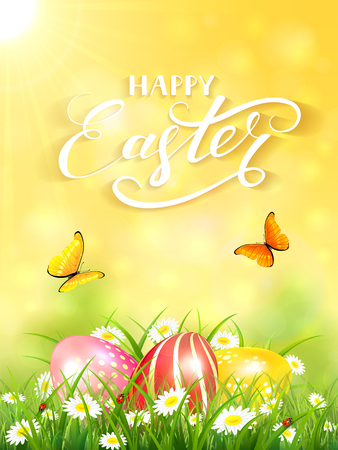 springtime background: Yellow nature background with sun beams and lettering Happy Easter, flying butterflies and three colorful Easter eggs on grass and flowers, illustration. Illustration
