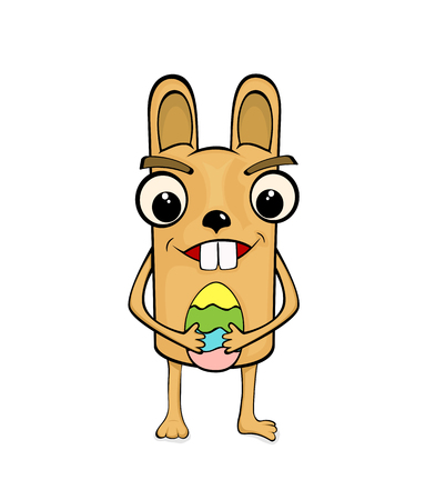 brown egg: Easter rabbit with colorful egg isolated on white background, illustration. Illustration