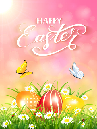 shine: Pink nature background with sun beams and lettering Happy Easter, flying butterflies and three colorful Easter eggs on grass and flowers, illustration.