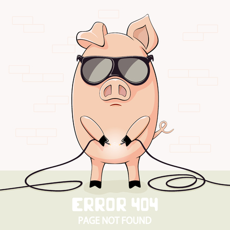 Little pink pig in sunglasses holds the broken wires and lettering Error 404, page not found, illustration.