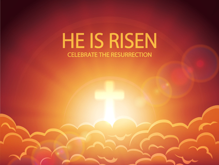 he: Religious background, cross against the orange sky with clouds, sun rays and lettering He is risen, Easter theme, illustration.