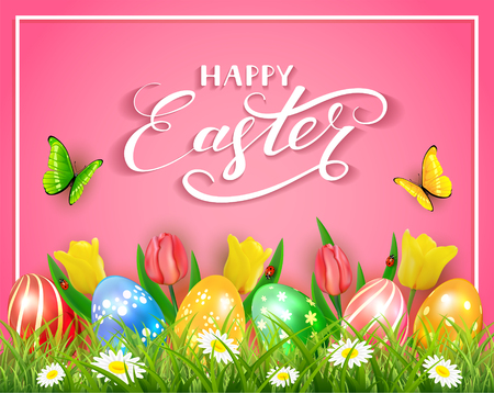 golden: Easter eggs in grass on pink background with tulips, butterflies and ladybugs, lettering Happy Easter, illustration. Illustration