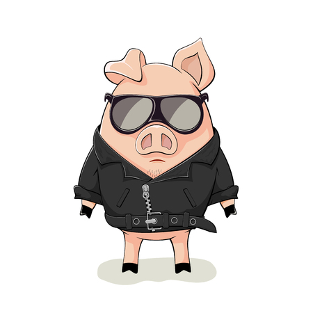 Pink pig with black sunglasses and leather jacket isolated on white background, illustration. Vettoriali