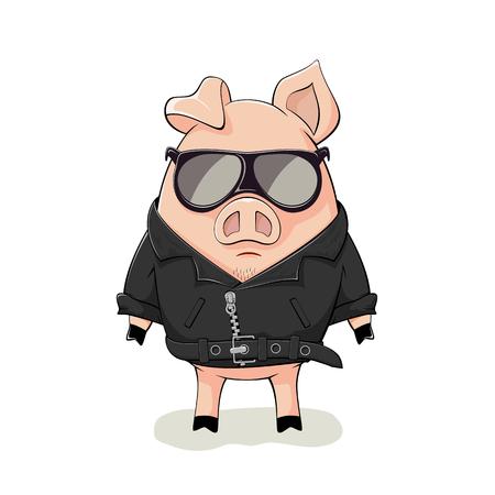 Rosa cerdo con gafas de sol negro y chaqueta de cuero aisladas sobre fondo blanco, ilustración.