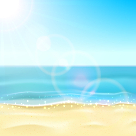 sunny: Sunny background with sandy beach and sparkling ocean or sea, illustration. Illustration