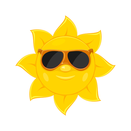 white background: Smiling sun with sunglasses isolated on white background, illustration. Illustration